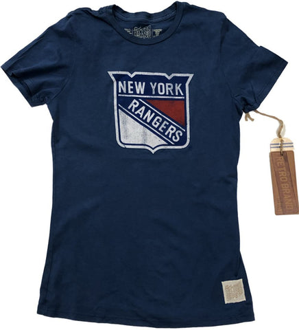 New York Rangers Retro Brand WOMEN Blue Cotton Capped Sleeve Fitted T-Shirt