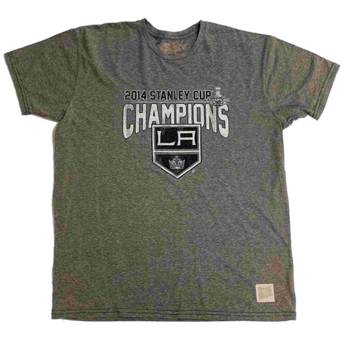 698a9e0ea Los Angeles LA Kings Retro Brand 2014 Stanley Cup Champions Gray T-Shirt
