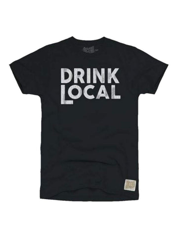 Drink Local Retro Brand Black & White Cotton Short Sleeve Crew T-Shirt