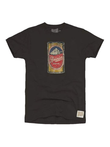 Rainier Brewing Company Beer Can Retro Brand Black Cotton T-Shirt - Sporting Up