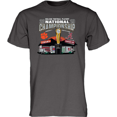 Alabama Clemson 2019 CFP National Championship Game Dueling Gray T-Shirt