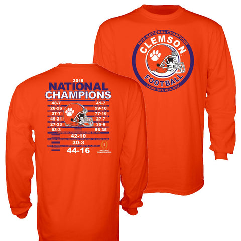 Clemson Tigers 3-Time 2018-2019 Football National Champions Orange LS T-Shirt