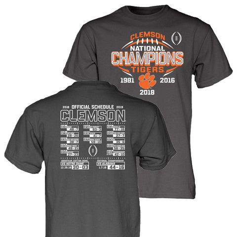 Clemson Tigers 2018-2019 Football National Champions Gray Short Sleeve T-Shirt