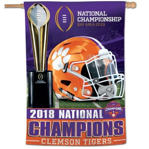 Clemson Tigers 2018-2019 Football National Champions WinCraft Vertical Flag