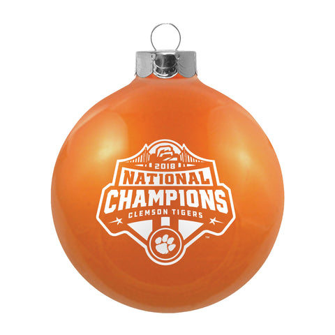 Clemson Tigers 2018-2019 CFP National Champions Glass Ball Christmas Ornament