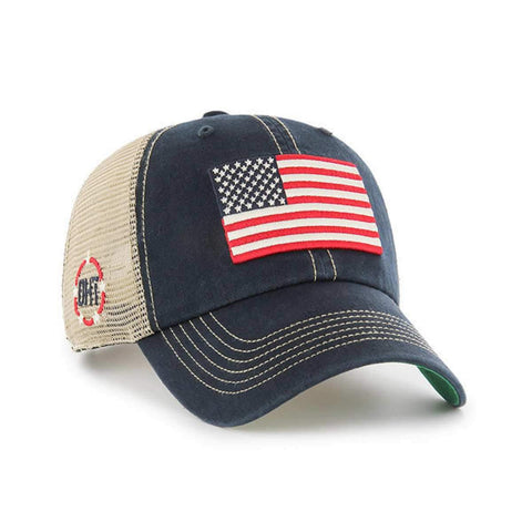 Operation Hat Trick OHT American Flag 47 Brand Navy Trawler Mesh Relax Hat Cap