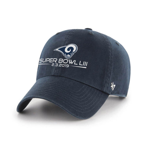 Los Angeles Rams 2019 Super Bowl 53 LIII 47 Brand Navy Clean Up Relax Hat Cap