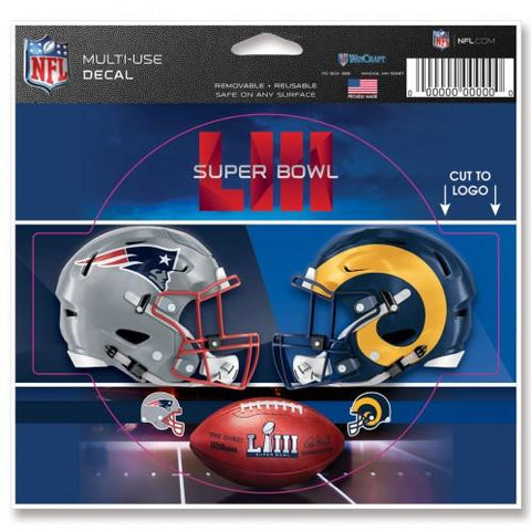 Los Angeles Rams New England Patriots 2019 Super Bowl LIII Multi-Use Decal
