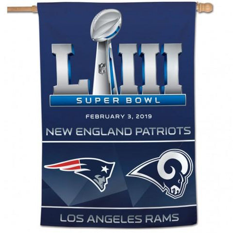 Los Angeles Rams New England Patriots 2019 Super Bowl LIII Vertical Banner Flag