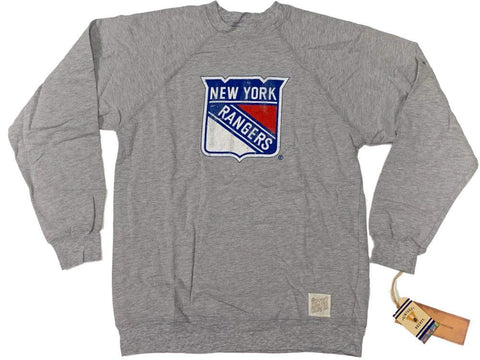 New York Rangers Retro Brand Light Gray Shield Logo Long Sleeve T-Shirt