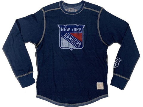 New York Rangers Retro Brand Navy Shield Logo Heavyweight Long Sleeve T-Shirt