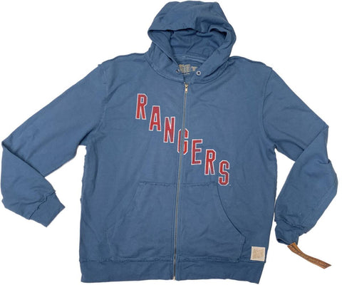 New York Rangers Retro Brand Blue Full Zip Up Long Sleeve Hooded Jacket