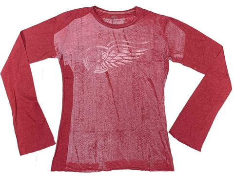 Detroit Red Wings Retro Brand WOMEN Red Burnout Style Long Sleeve T-Shirt