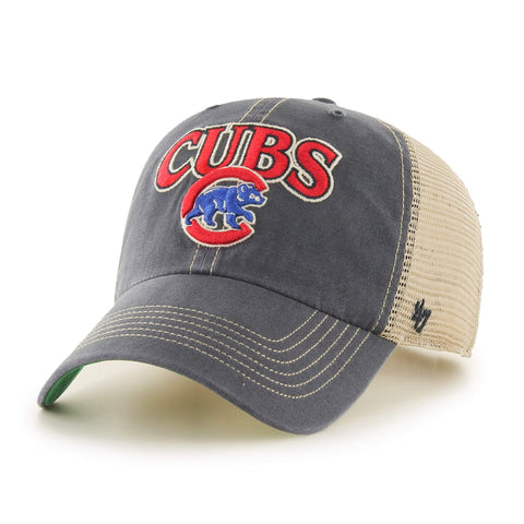 Chicago Cubs  47 Vintage Navy Tuscaloosa Clean Up Mesh Snapback Slouch Hat  Cap f650d4fd06c