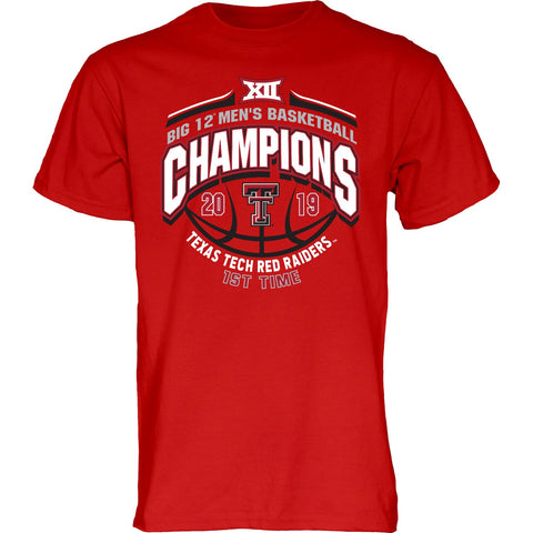 Texas Tech Red Raiders 2019 BIG 12 Men's Basketball Champions Red T-Shirt