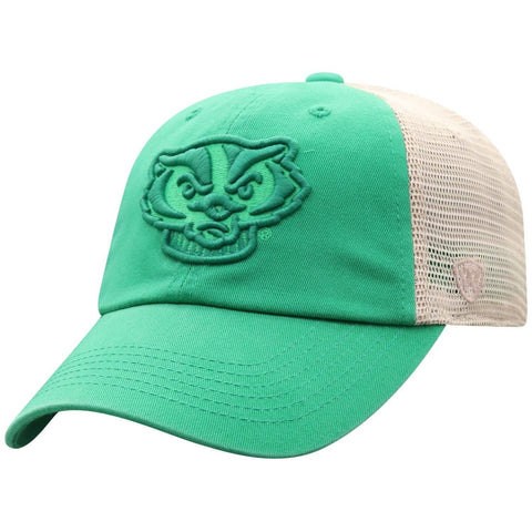 Wisconsin Badgers TOW Green St. Patrick's Day Tan Mesh Adj. Slouch Hat Cap