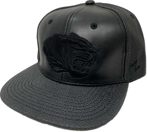 huge selection of 5935b 867e6 Missouri Tigers Zephyr Black Faux Leather with Textured Flat Bill Adj. Hat  Cap