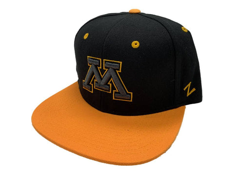 Minnesota Golden Gophers Zephyr Black & Gold Snapback Flat Bill Hat Cap