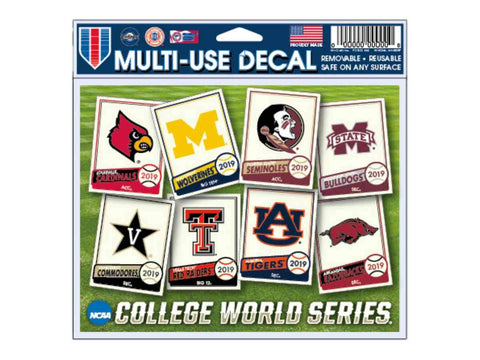 2019 NCAA Men's College World Series CWS 8 Team WinCraft Multi-Use Decal