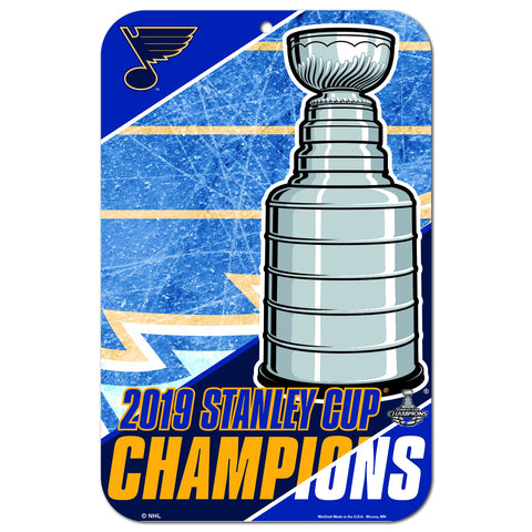 "St. Louis Blues 2019 Stanley Cup Champions WinCraft Plastic Wall Sign (11""x17"")"