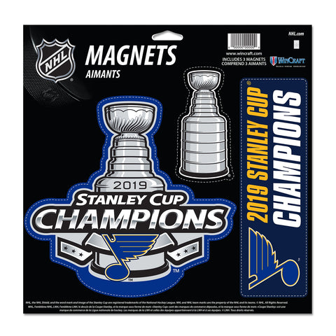 St. Louis Blues 2019 Stanley Cup Champions WinCraft Die Cut Magnet Sheet (3 PK)