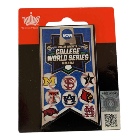 2019 NCAA Men's College World Series CWS 8 Team Aminco Metal Banner Lapel Pin