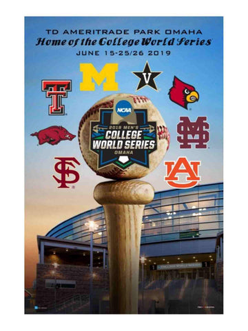 2019 NCAA Men's College World Series CWS 8 Team Ameritrade Park Omaha Poster