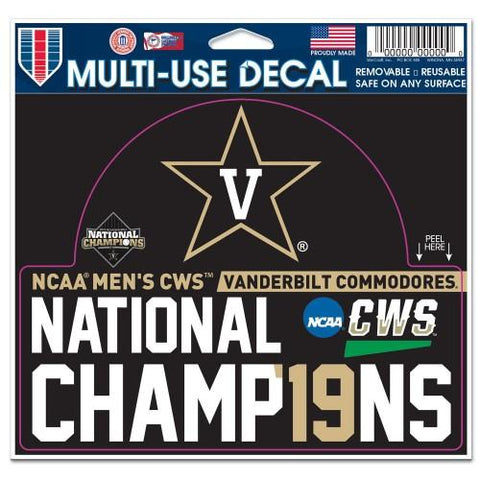 Vanderbilt Commodores 2019 College World Series CWS Champions Multi-Use Decal
