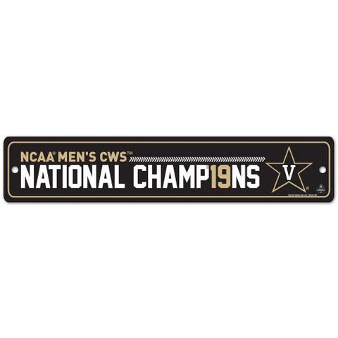 Vanderbilt Commodores 2019 Men's College World Series CWS Champions Street Sign