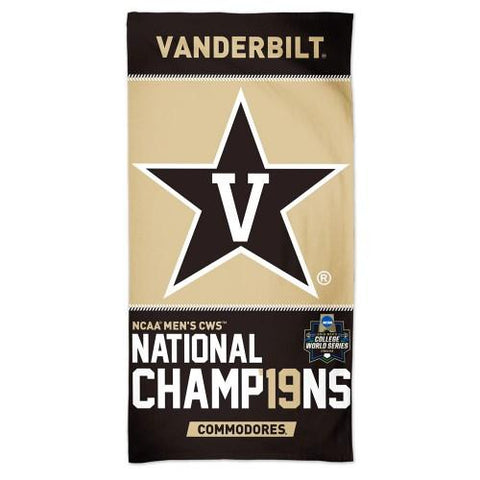 Vanderbilt Commodores 2019 Men's College World Series CWS Champions Beach Towel