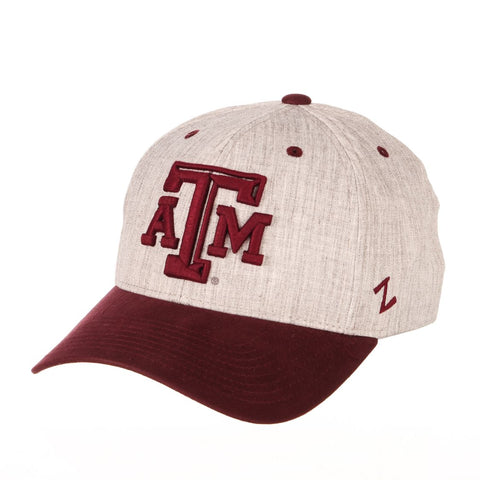 "Texas A&M Aggies Zephyr ""Oxford"" Structured Stretch Fit Fitted Hat Cap"