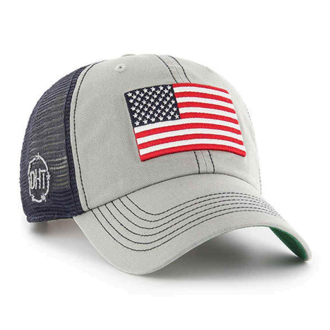 Operation Hat Trick OHT American Flag 47 Brand Gray Trawler Mesh Relax Hat Cap