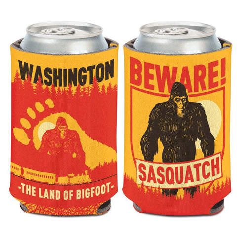 "Shop Washington ""The Land of Bigfoot"" Beware Sasquatch WinCraft Drink Can Cooler"