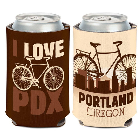 "Shop Portland Oregon ""I Love PDX"" Bicycle WinCraft Neoprene Drink Can Cooler"