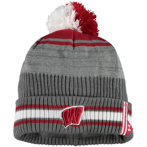 Shop Wisconsin Badgers Under Armour 2019 Sideline POM Cuffed Knit Beanie Hat Cap