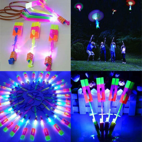 10pc Set Amazing Led Light Arrow Rocket Helicopter Flying Toy Party Favors Gift