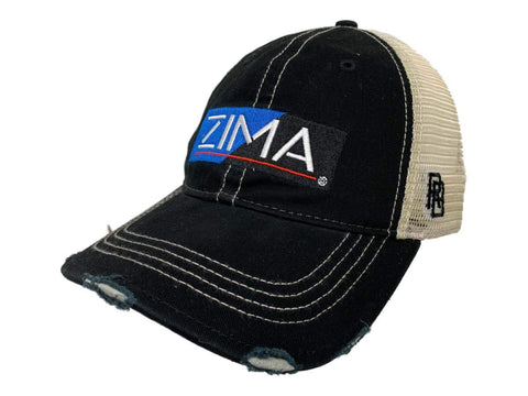 Zima Coors Brewing Company Retro Brand Black Distressed Mesh Snapback Hat Cap
