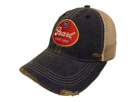 Shop Pearl Lager Beer Pabst Brewing Company Retro Brand Distressed Mesh Adj. Hat Cap