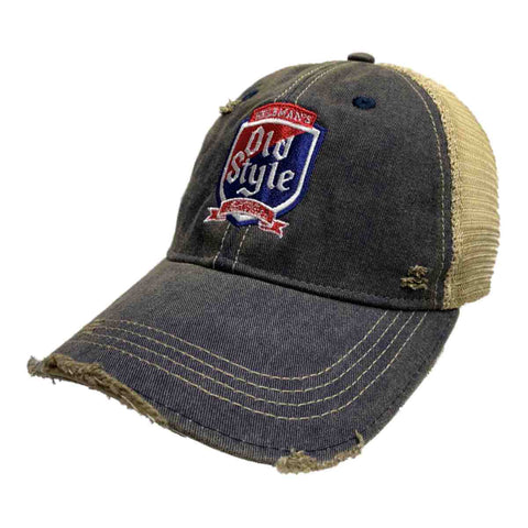 Old Style Beer Heilman's Brewing Company Retro Brand Distressed Mesh Hat Cap