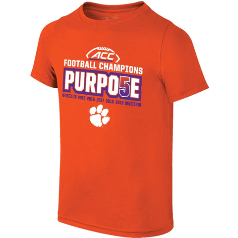 "Clemson Tigers 2019 ACC Football Champions ""PURPO5E"" Orange Locker Room T-Shirt"