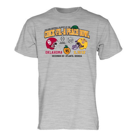 "Oklahoma Sooners LSU Tigers 2019 CFP Peach Bowl ""Air Horn"" Heather Gray T-Shirt - Sporting Up"