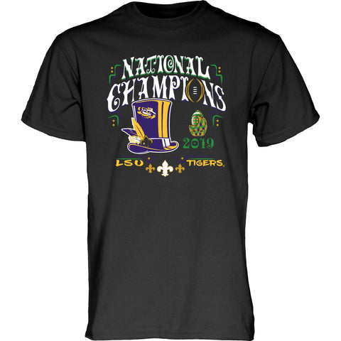 LSU Tigers 2019-2020 Football National Champions Black New Orleans T-Shirt - Sporting Up