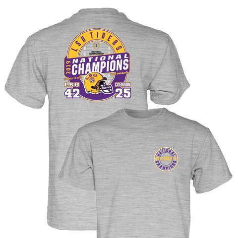 LSU Tigers 2019-2020 Football National Champions Gray Game Score T-Shirt - Sporting Up