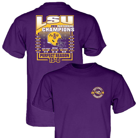"LSU Tigers 2019-2020 Football National Champions ""Perfect Season"" 15-0 T-Shirt"