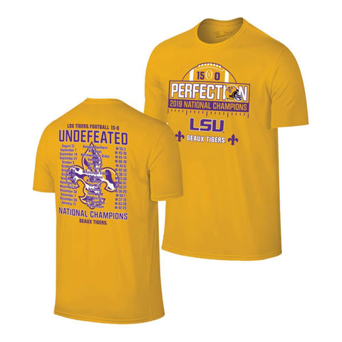 "LSU Tigers 2019-2020 CFP National Champions Gold Yellow ""Perfection"" T-Shirt"