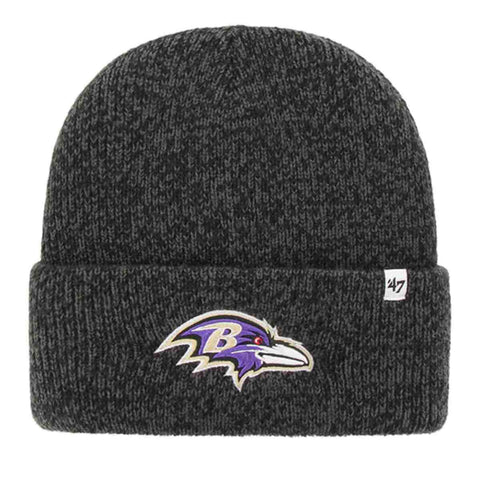 "Baltimore Ravens '47 Brand Black ""Brain Freeze"" Thick Knit Cuffed Beanie Hat Cap"