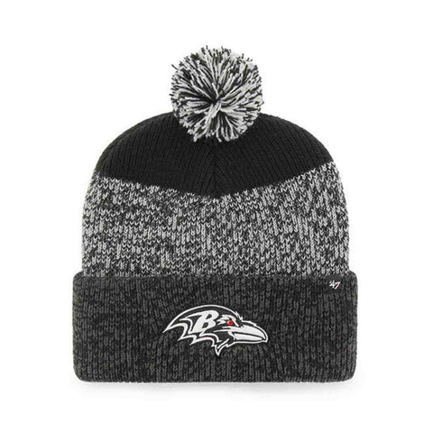 "Baltimore Ravens '47 Brand ""Static"" Thick Knit Cuffed Poofball Beanie Hat Cap"