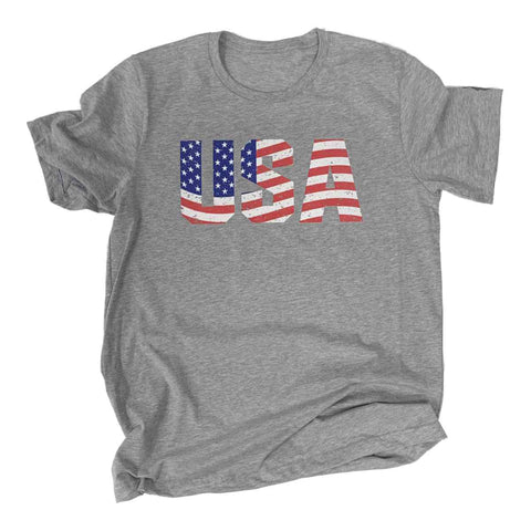 USA American Flag 4th of July Unisex Gray Cotton Blend Distressed T-Shirt
