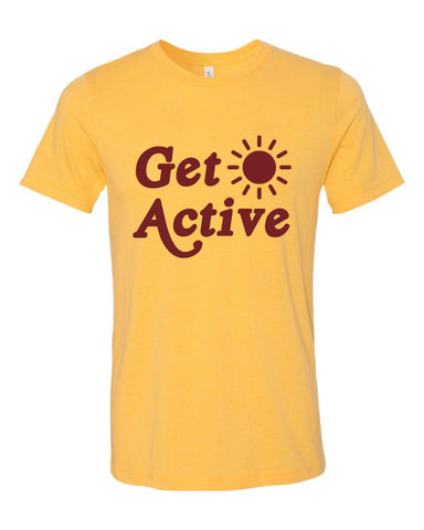 Get Active Sun Unisex Heather Yellow Gold Cotton Blend T-Shirt