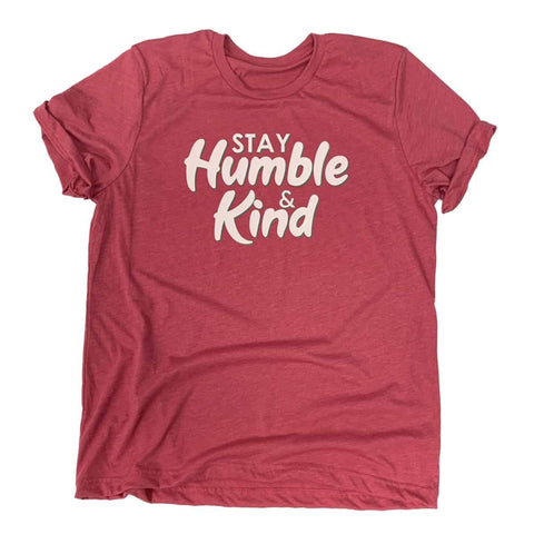 Stay Humble & Kind Unisex Heather Raspberry Pink Cotton Blend T-Shirt